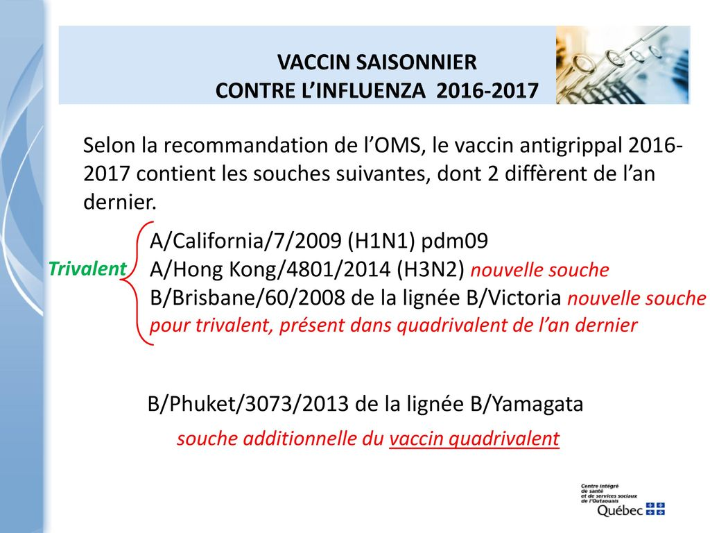 vaccin grippe 2017 souches