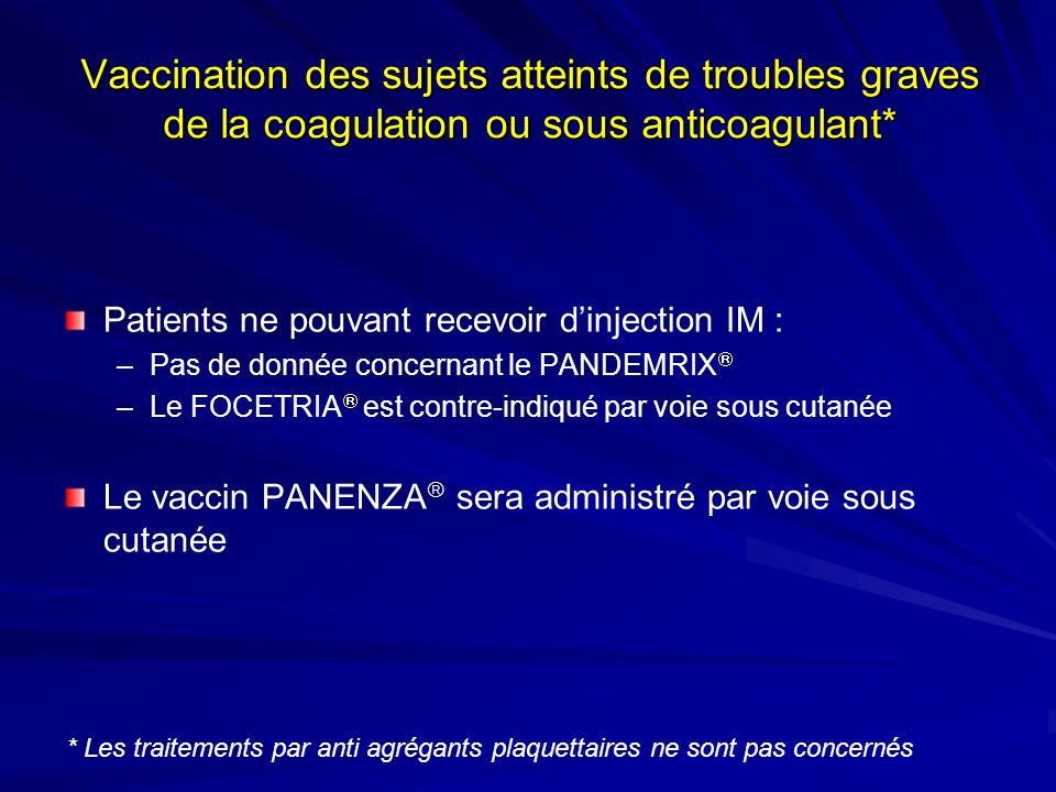 vaccin grippe et anticoagulant