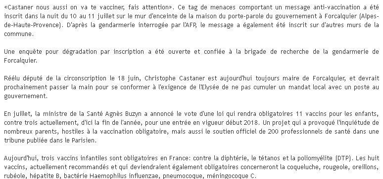 vaccin obligatoire gendarmerie