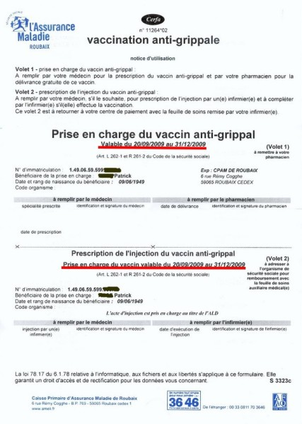 vaccin grippe formulaire