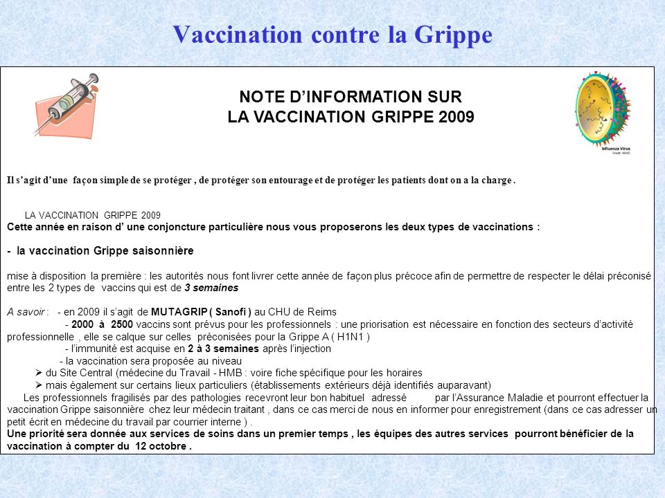vaccin grippe temps d'action