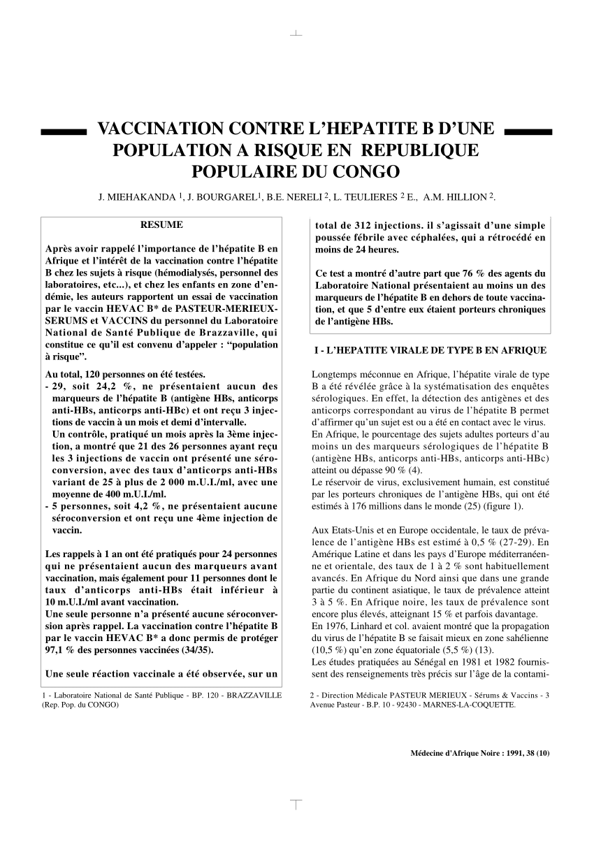 vaccin hepatite b deux injections