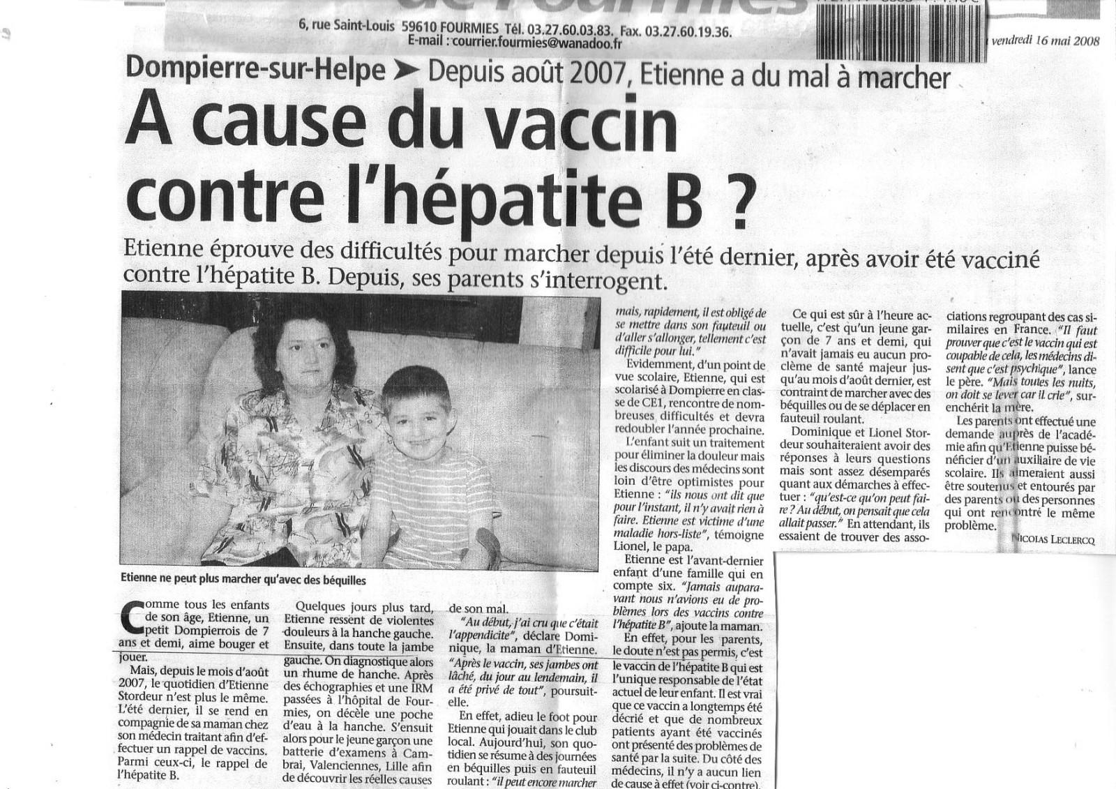 vaccin hepatite b et effets secondaires