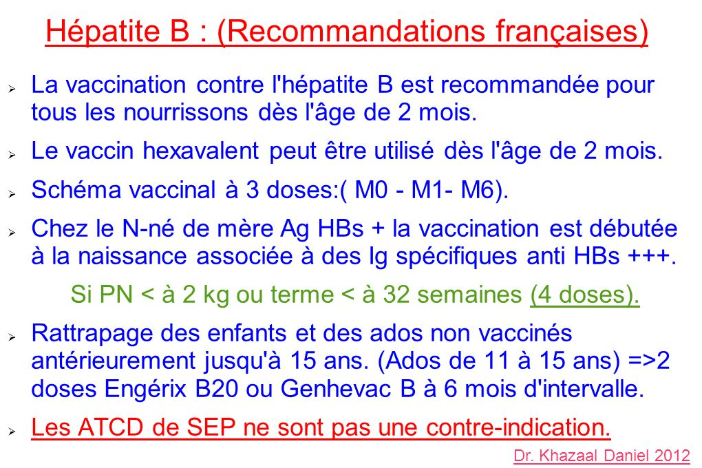 vaccin hepatite b nourrisson